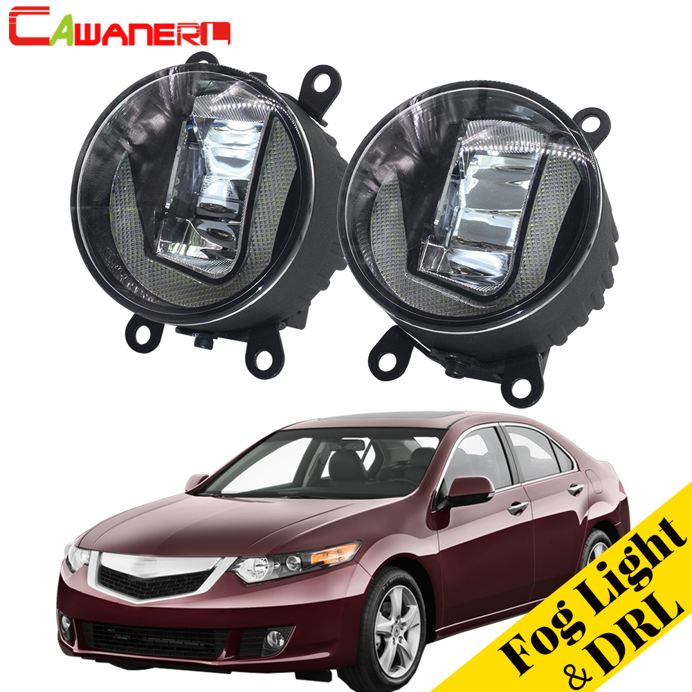 Cawanerl For Acura TSX 2011 2012 2013 2014 Car Accessories LED Fog Light Daytime Running Light DRL White 12V Styling 2 Pieces cawanerl for toyota highlander 2008 2012 car styling left right fog light led drl daytime running lamp white 12v 2 pieces