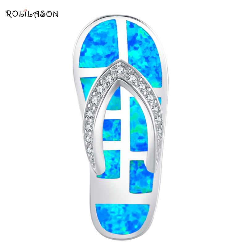 ROLILASON Flip flops Design Blue Fire Opal 925 Silver Necklace Pendants AAA Zircon Fashion Jewelry for Women OPS686