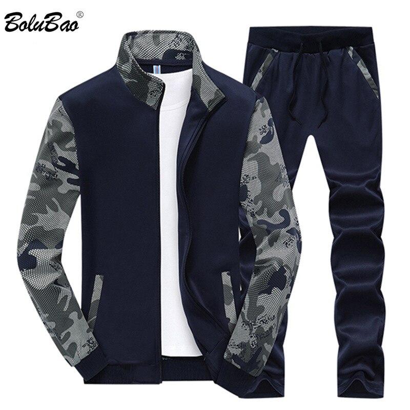 BOLUBAO New Tracksuit Men Set Spring Fleece Lined Track Suits Men Sportswear Jackets + Pants Male Sporting Suit Sweatshirt