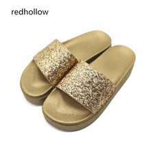 Fashion Woman Slippers Bling Beach Flip Flops Summer Sandals Slippers Platform Sandals High Heels Shoes Female Slides Gold 2018 woman slippers beach flip flops summer sandals wedges bohemia slippers ladies platform sandals high heels shoes female