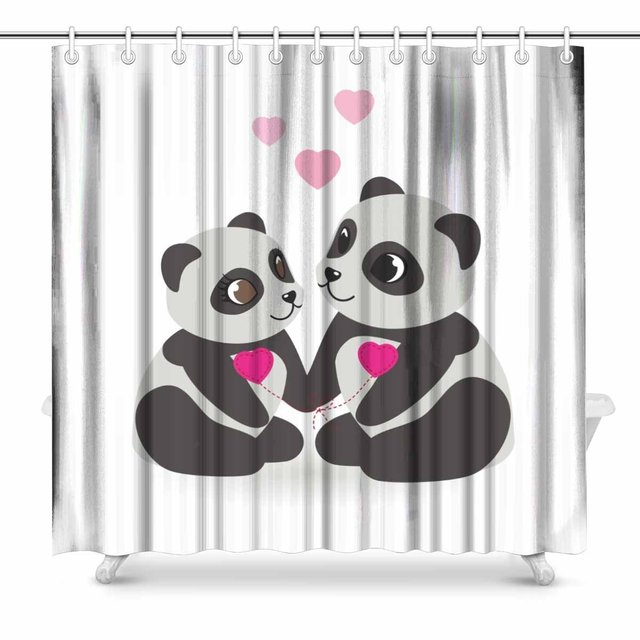 Aplysia Love Pandas Bears Fabric Shower Curtain Decor With Hooks 72 X Inches