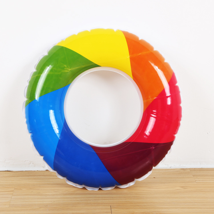 Kids Floats Kids Folding Rainbow Swimming Ring Circle Pool Float Floating Inflatable Water Swimming Pool Rafts Toy Gifts
