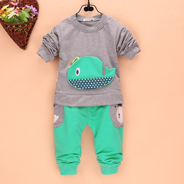 Us 3 94 16 Off Aliexpress Com Buy Best Price 2pcs Outfits Kids Baby Boys Clothes Long Sleeve Whale Tops Long Pants Clothing Sets 1 4y 4 Colors