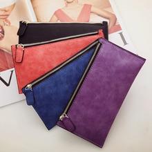 Отей Париж Для женщин дамы кошелек длинных денег сумки простой Стиль портмоне из кожи тонкие кошельки женские держатель для карт одноцветное
