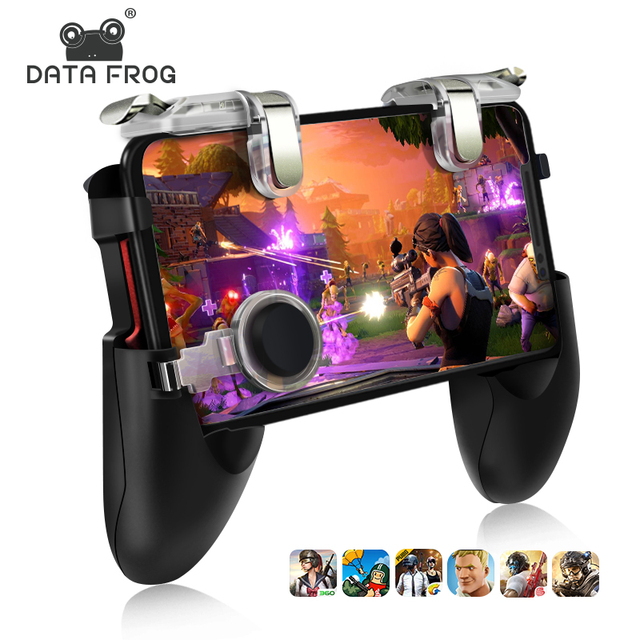 Data Frog Mobile Controller Trigger Game Fire Button Phone Joystick For PUBG For IPhone 7 8 Plus X For Xiaomi mi 8 Android