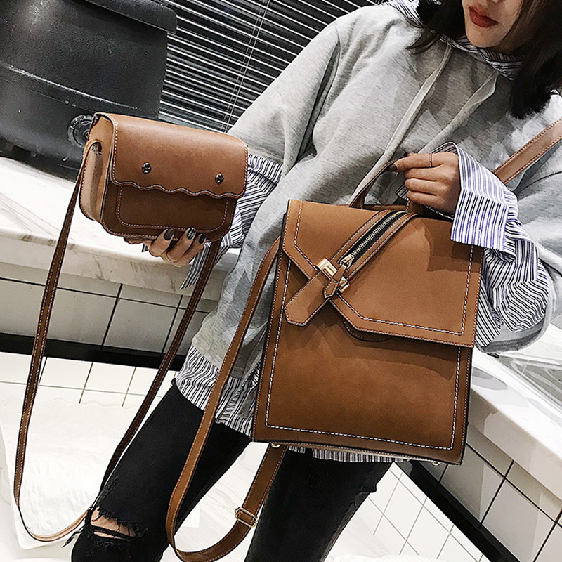 2019 New Scru Pu Leather Backpack Women Fashion School Bags Backpacks for Teenage Girls Brown Vintage 2pcs Backpack Sac A Dos2019 New Scru Pu Leather Backpack Women Fashion School Bags Backpacks for Teenage Girls Brown Vintage 2pcs Backpack Sac A Dos