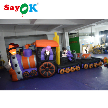 13ft Long Lighted Halloween Inflatable Skeleton on Train with Ghost 2017 Yard Decoration