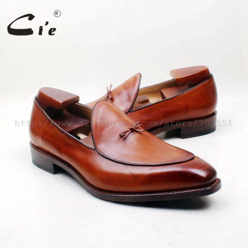 Cie nœud papillon bout carré 100% en cuir véritable semelle sur mesure Goodyear Welted Craft fait à la main marron hommes sans lacet Loafer164-1 de chaussures