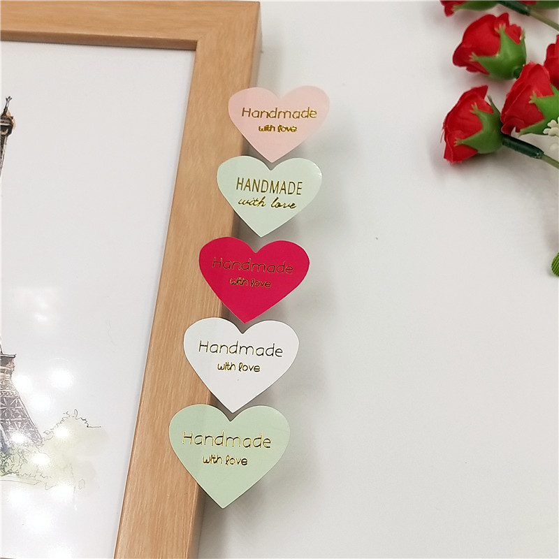 100 Pcs/lot Heart Shape Hot Stamping Seal  Lable Handmade Gift Decor Stickers Bakery Cookie Packaging Bag Paper Seal Label