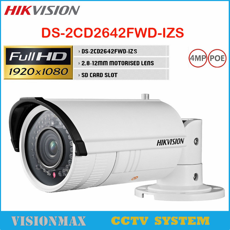 Hikvision 4MP PoE IP Camera WDR Vari focal DS 2CD2642FWD IZS 2 8mm 12mm Motorized Outdoor
