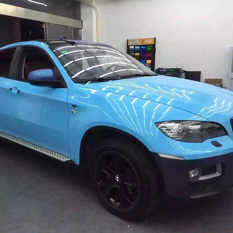 TSAUTOP 1.52x18m Air Free Bubbles Super Glossy Film Light Blue Color Car Body Adhesive Sticker Whole Car Vinyl Car Wrap
