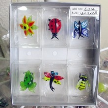 Factory wholesale color glass butterfly, dragonfly Mini sculpture decorative pendant Easter gardening animal cartoon