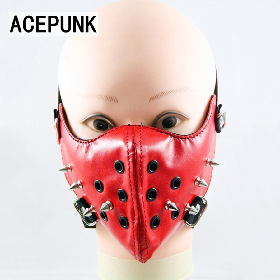 2019 New Long Spikes Rivet Mask Party Punk Style წითელი ტყავის ნიღაბი Hip-hop Halloween Party Face Mask