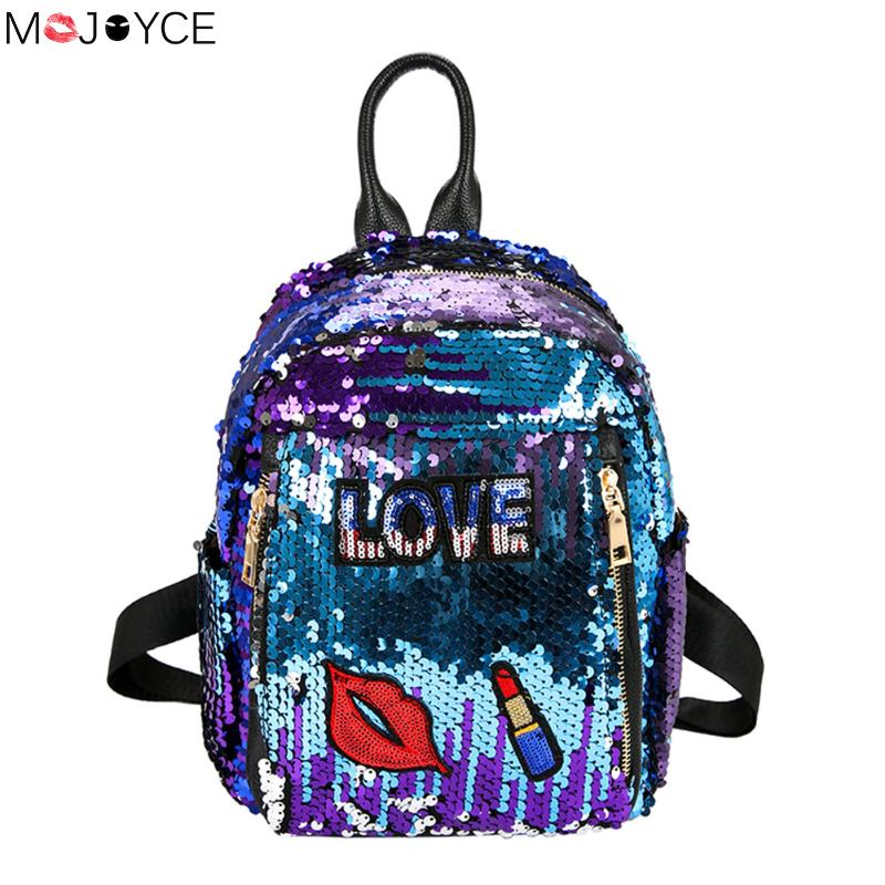 Fashion Cute Girls Sequins Backpack Womens Paillette Leisure Preppy Style Lips School Book Bags Mochila Shoulder Bags Women womens fashion cute girls sequins backpack paillette leisure school bookbags leather backpack ladies school bags for teenagers