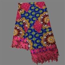 Luxus hochzeit/party Afrikanischen super batik ankara wachs spitze stoff für abendkleid (6 yards/lot) WLF80