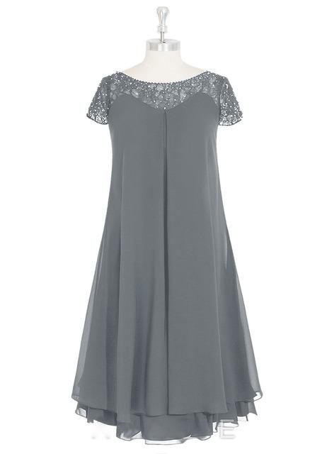 Custom Made Curto Mãe do Vestido de Noiva Zipper Voltar Tea Comprimento Chiffon Mãe do Vestido Bridsmaid