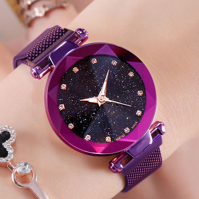 4c78b72c450 2019 Nova Marca Ouro Rosado Malha Ímã Fivela Céu Estrelado Relógio De  Quartzo Das Mulheres Relógios Casuais Relogio feminino Relógio De Pulso  Feminina hot