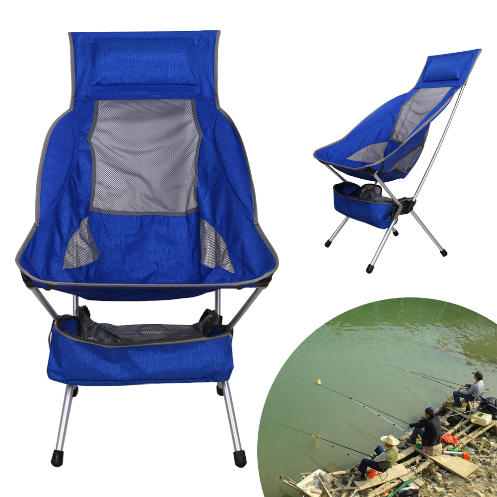 Blue Lightweight Fishing Chair Portable Folding Camping Stool Chair Seat for Fishing Festival Picnic BBQ Beach With Bag Outdoor