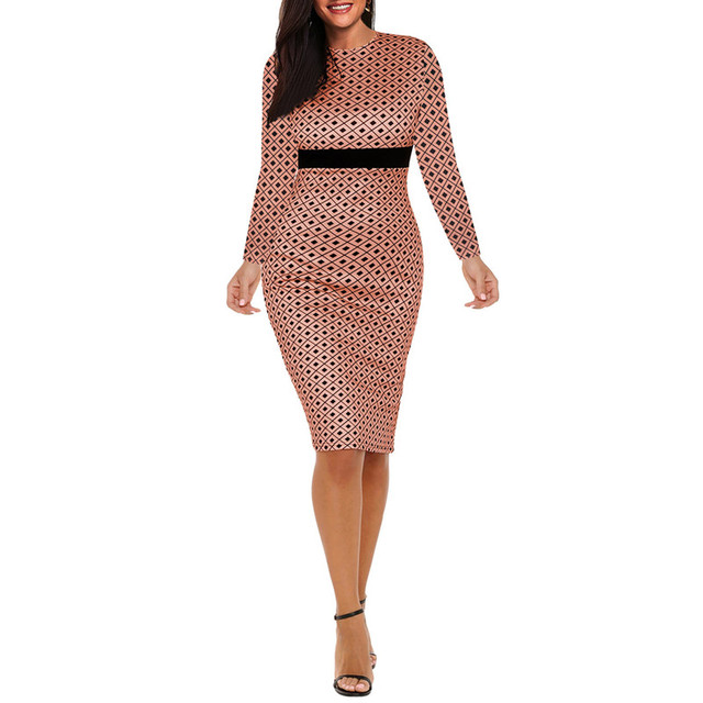 d7809b00830 Fmasuth Ladies Dresses Knee Length Vestidos Plaid Dress Woman Spring O Neck Full  Sleeve XXL Pencil Dress ox279