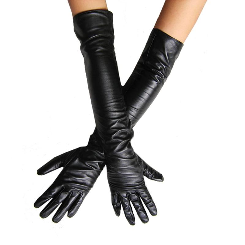 Dámské umělé kožené dlouhé rukavice Ultra dlouhý pás dlouhý design Módní dámské kožené rukavice dámské 50cm Doprava zdarma AT044
