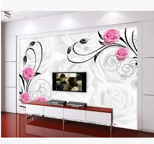 Buy Can Customized Large 3d Art Design Mural Abstract Flowers Rose Wallpaper
