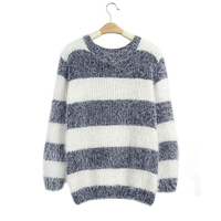 2018 New Women Korean Style Fluffy Mohair Knitted Jumper Long Sleeve O Neck Stripe Sweaters Pullover