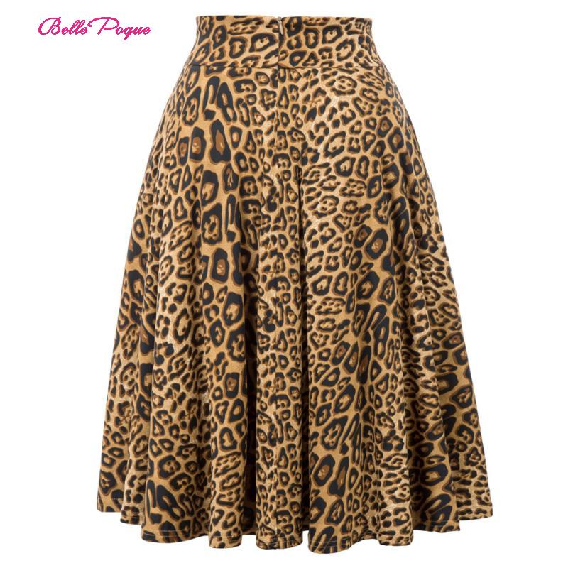 Belle Poque Leopard Print High Waist Skirt Pleated Midi Women Autumn Winter Flared Skirt Fashion Bow Party Skirt Gothic Vintage