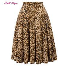 Belle Poque Leopard Print High Waist Skirt Pleated Midi Women Autumn Winter Flared Skirt Fashion Bow Party Skirt Gothic Vintage