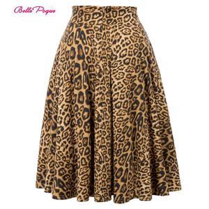 Image 1 - Belle Poque Leopard Print High Waist Skirt Pleated Midi Women Autumn Winter Flared Skirt Fashion Bow Party Skirt Gothic Vintage