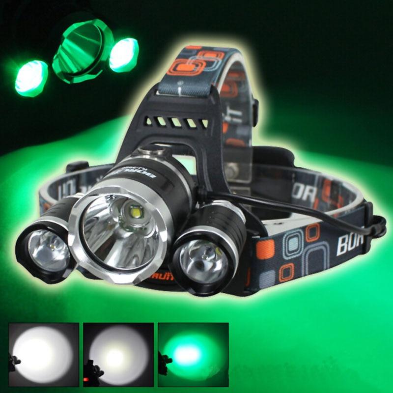 BORUIT RJ-3000 1xCREE XML T6+2xCREE R2 Green Light 3-Mode USB Rechargeable LED Headlamp (2x18650)