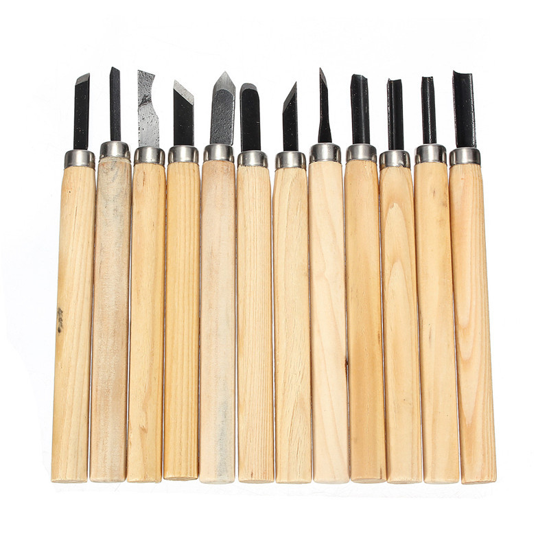 12pcs/set Wood Lathe Handle Carpenters Carving Chisels Kit DIY Hand Tools Set