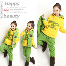 2014 Autumn/Winter Children Thick Cotton Padded Hoodie Three Sets,Girls/Boys Clothing Set For Christmas,Height 120-160cm