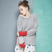 2016 Autumn Vintage Women Sweaters and Pullovers Female O-Neck Patchwork Color Block Pullover Knitted Sweater Es1027