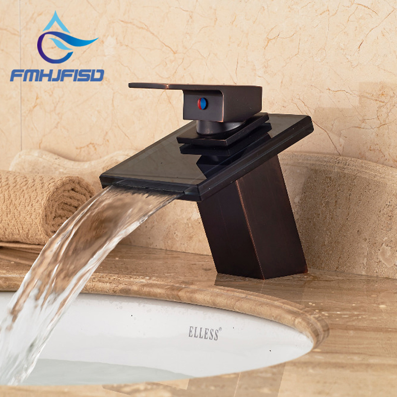 Free Shipping Wholesale And Retail Luxury Waterfall Spout Oil Rubbed Bronze Bathroom Faucet Modern Square Vanity Sink Mixer Tap us free shipping wholesale and retail oil rubbed bronze bathrom waterfall sink basin faucet mixer tap glass spout wall mount