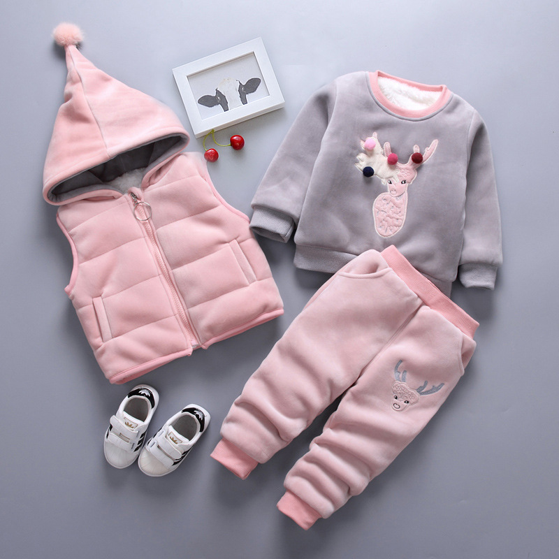 KISBINI Baby Boys Girls Winter Sets 3PCS Hooded Waistcoat+Sweatshirt+Pants Thick Warm Cotton Deer Clothes Suit For Kids Toddler