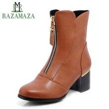 Купить с кэшбэком RAZAMAZA Women Winter Half Short Boots Fashion Zipper High Heels Fur Warm Boots Round Toe Thick Heels Shoes Women Size 33-43