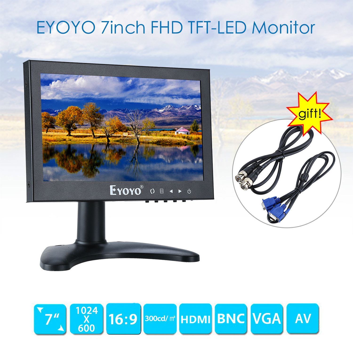 EYOYO 7inch FHD TFT LCD Screen 1024*600 HDMI 75degree BNC VGA AV Video Monitor For CCTV PC DVD DVR Security Camera TV aputure digital 7inch lcd field video monitor v screen vs 1 finehd field monitor accepts hdmi av for dslr