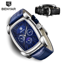 Wrist Watch Men Relogio Masculino Quartz BENYAR Fashion Blue Top Brand Luxury Business Leather Moon Phased Watch Male Watches relogio masculino hot luxury men s watches faux leather band black dial fashion business wrist quartz watch men top quality
