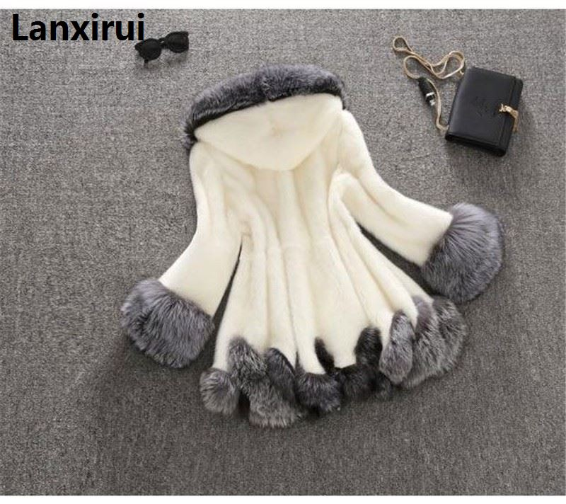 Winter Luxury Faux Fox Fur Female Cloak Hooded Coat Faux Mink Fur Coat Bride Wedding Cape Flare Sleeve Outwear