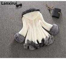 Winter Luxury Faux Fox Fur Female Cloak Hooded Coat Faux Mink Fur Coat Bride Wedding Cape Flare Sleeve Outwear