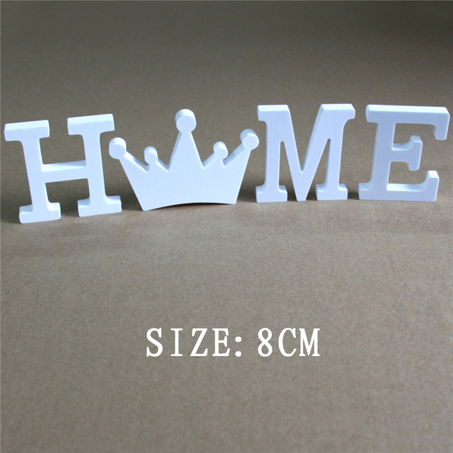 8cm home family wedding decoration white letters used for the name logo on the wall of the photo wall Artificial wood letters 1