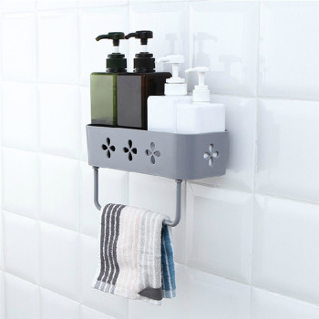 Wall Hanging Bathroom Organizer In Stick Tape Design Made From High Quality Pp Material