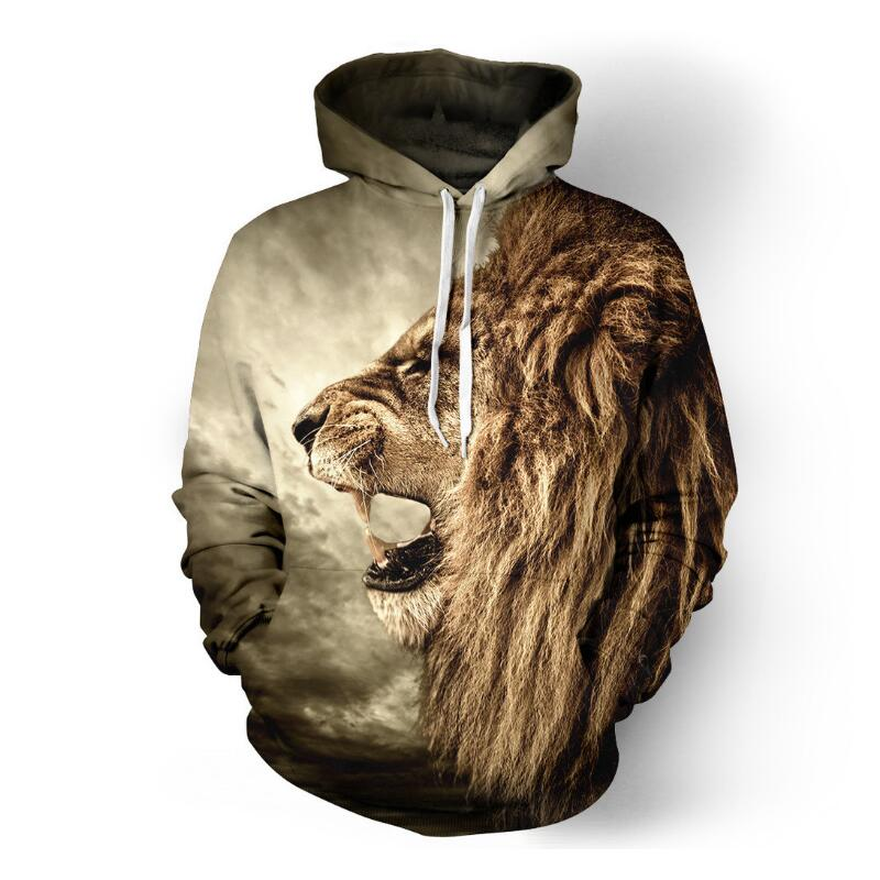 Lion Printed Hoodies Men Women 3D Sweatshirt Plus size Pullover Streetwear Hooded Jacket Outwear baseball couples blouse