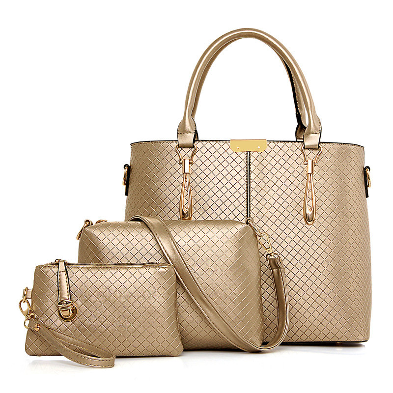 Simple Women Leather Handbag 2017 Diamond Lattice Shoulder Bag Multifunctional Composite Bag Women Messenger Bags Bolsa Feminina