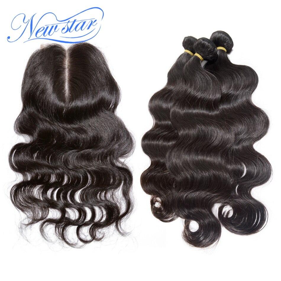 New star волосы перуанский объемная волна 3 Связки с кружевом Закрытие 100% Необработанные Девы человеческих волос Weave Расширение и 4x4 закрытие