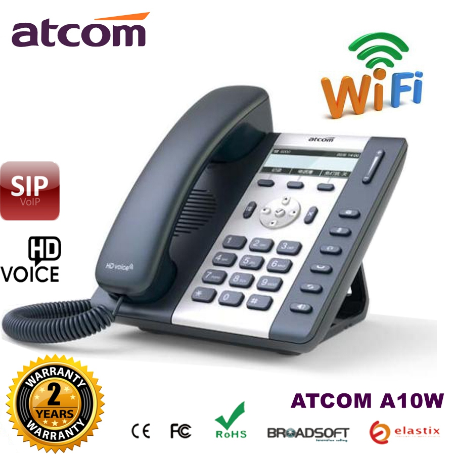 (Ship to Brazil) ATCOM A10W 1 SIP WIFI Phone Entry-level business wireless IP Phone , Desktop wifi IP Phone voip sip phone atcom a21 poe 2 sip line entry level business ip phone dual core cpu hd voice backlight lcd desktop office voip telephone