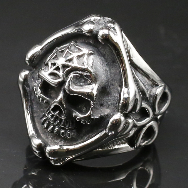 STAINLESS STEEL BONE SKULL RING