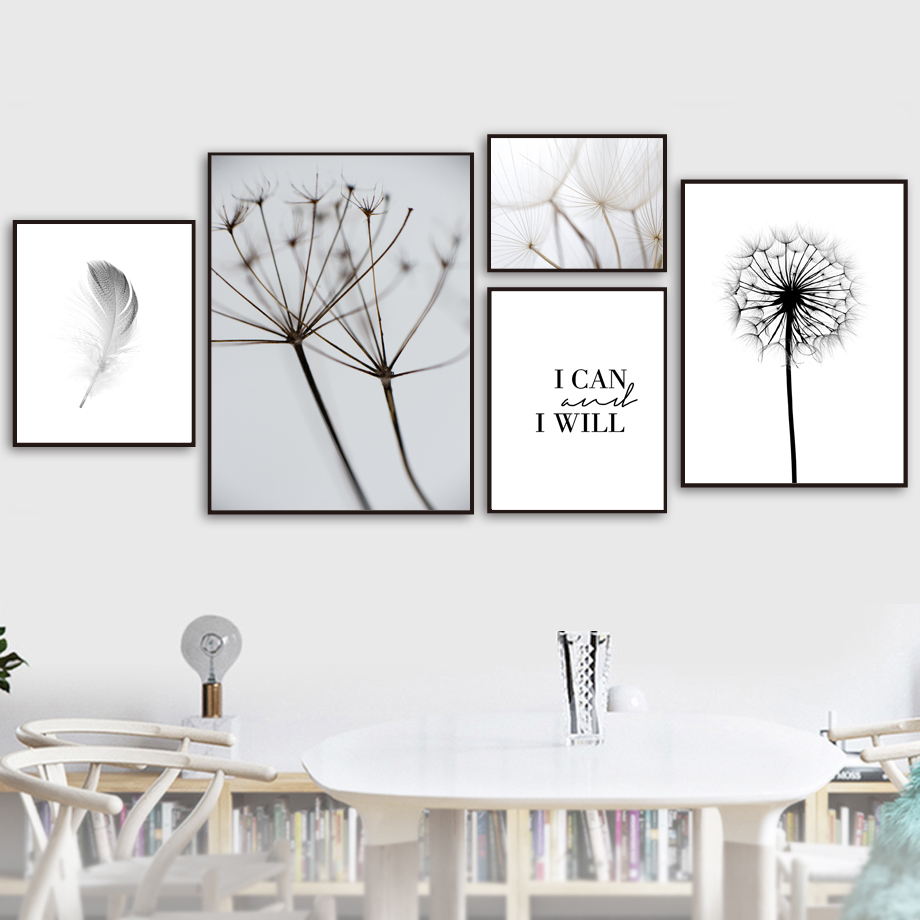 Feather Dandelion Wall Art Canvas Painting Quotes Nordic