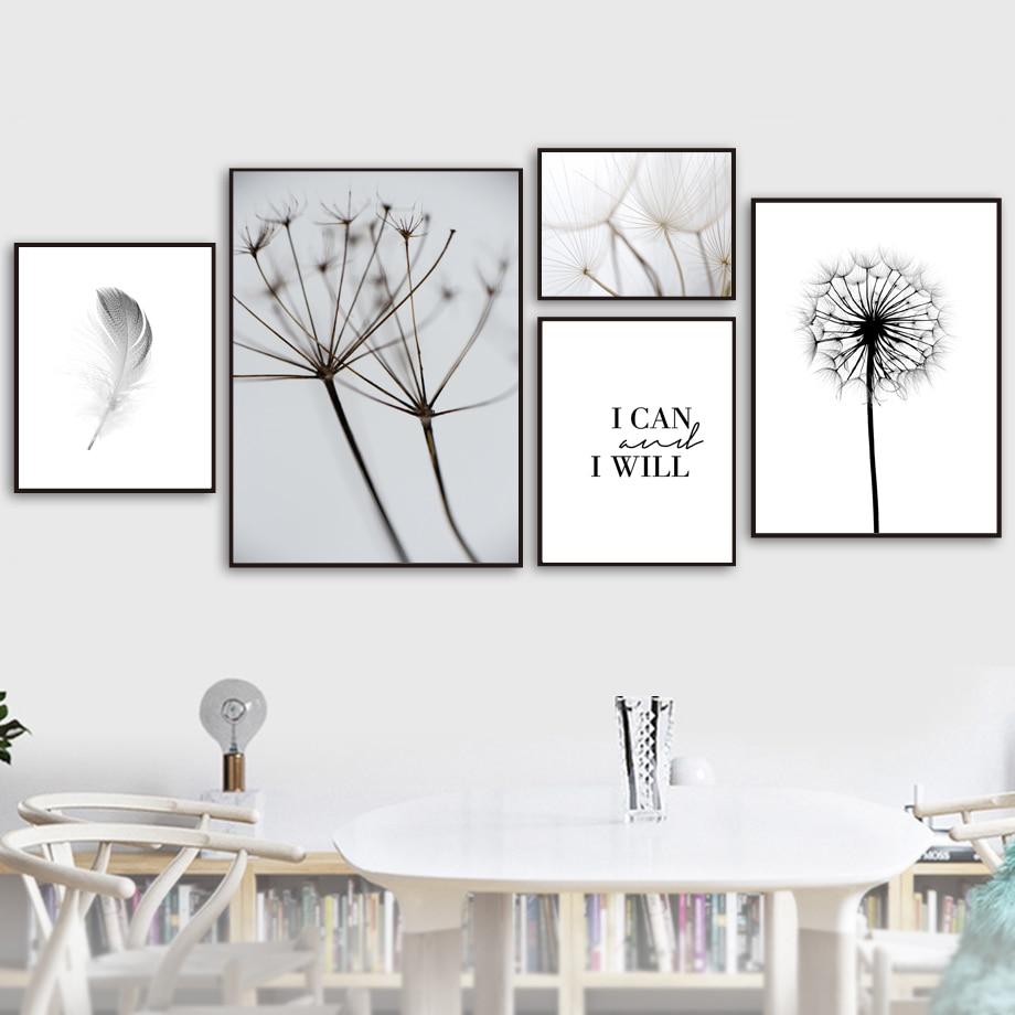 Dandelion Wall Art Dandelion Decor Black White Bedroom: Feather Dandelion Wall Art Canvas Painting Quotes Nordic