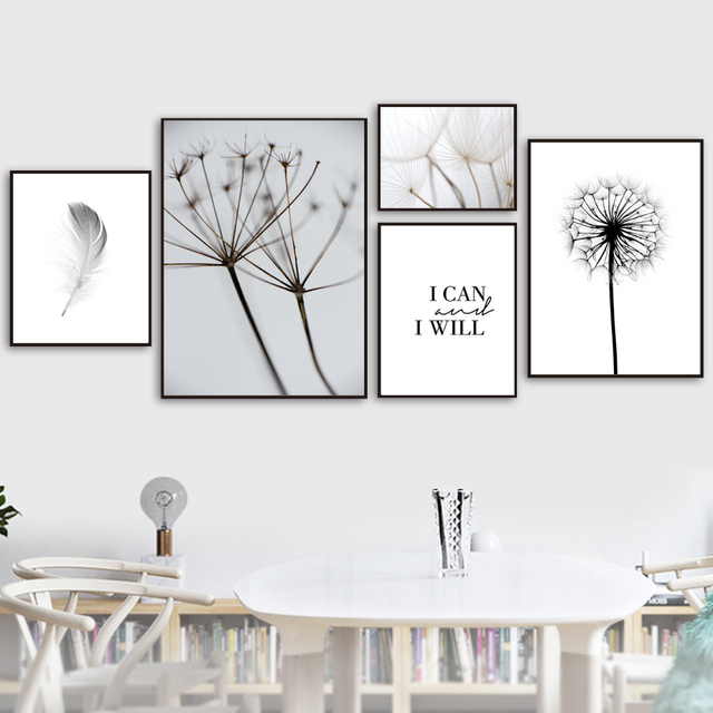 Us 3 47 45 Off Feather Dandelion Wall Art Canvas Painting Quotes Nordic Posters And Prints Black White Wall Pictures For Living Room Home Decor In
